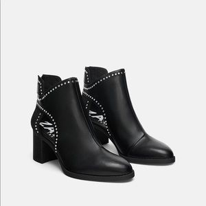 Zara Studded Block Heel Ankle Boots